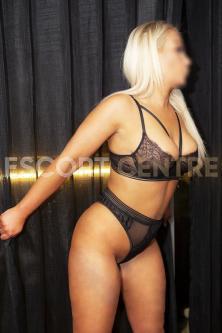 White blonde Ashley in black lacy underwear